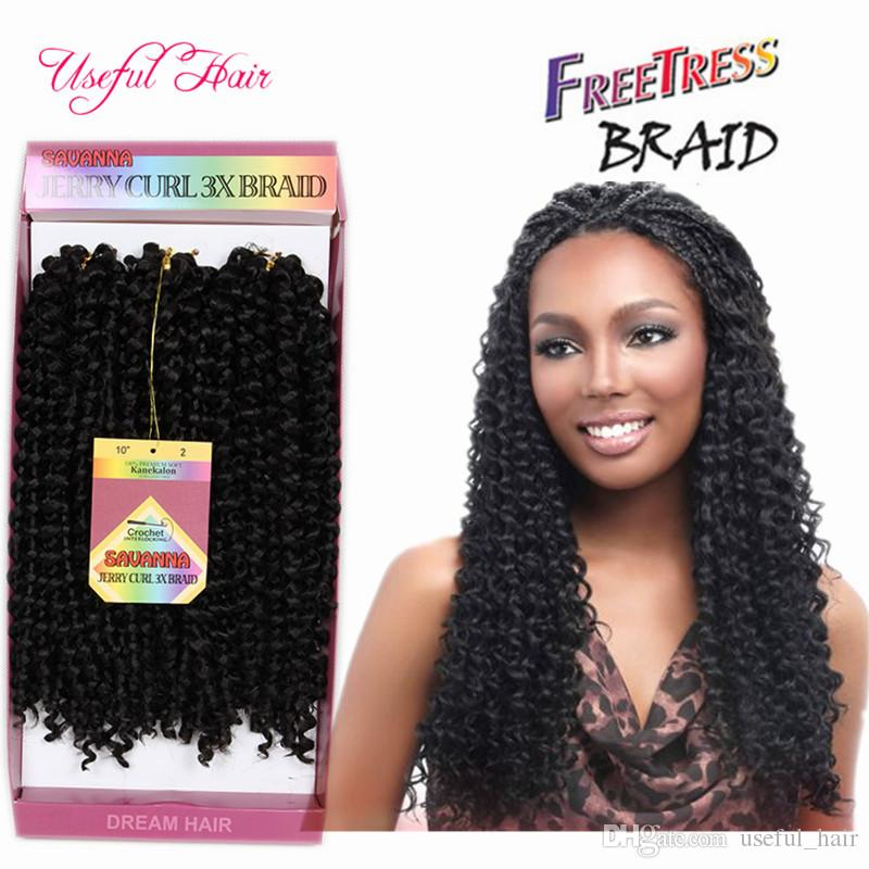Bohemian crochet afro kinky curly braids 3pcs/pack SAVANA twist hair jerry curly 10inch synthetic braiding hair freetress water wave
