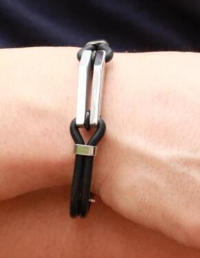 Armband-Edelstahl-Silikon-Schmucksachen der Männer koreanische neue Art- und Weiseheiße schwarze Farbe DHL geben Verschiffen frei