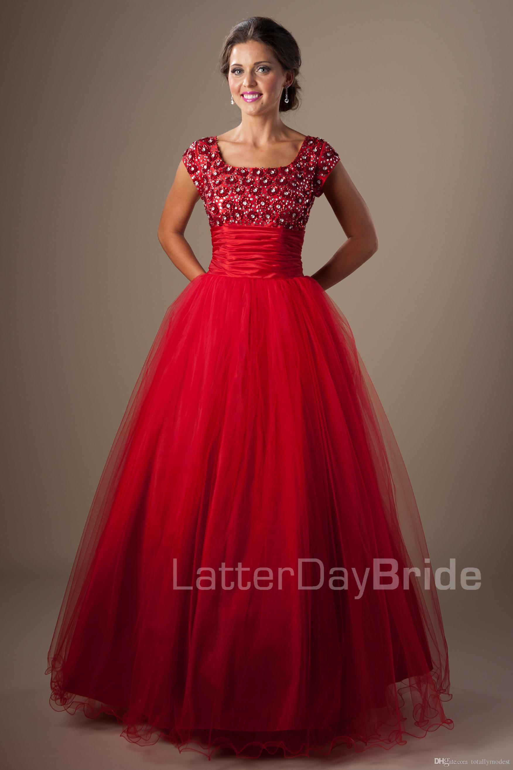 Red Ball Gown Modest Prom Dresses With Cap Sleeves Square Short Sleeves Prom Gowns Puffy A-line High School Formal Party Gowns Cheap