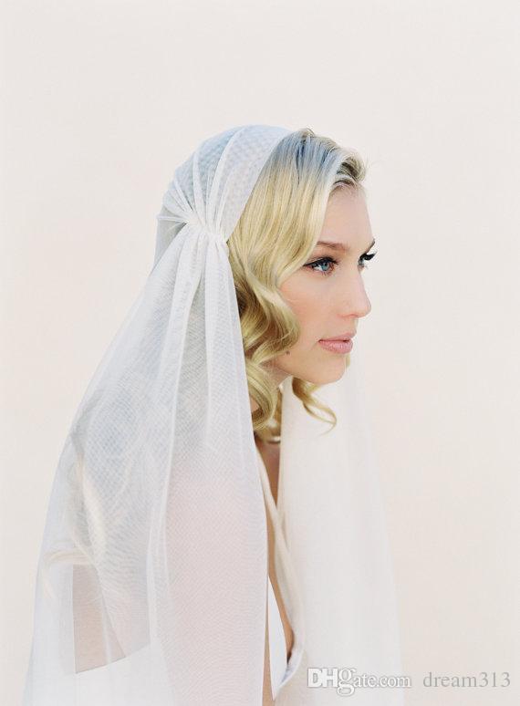 New high Quality Best Sale Fingertip Length White Ivory Cut Edge Veil Bridal Head Pieces For Wedding veil Juliet Cap