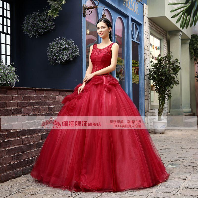 100% real vino rojo encaje adornado pequeñas flores vestido medieval Vestido renacentista Sissi princesa Cosplay victoriana / Marie Belle Ball