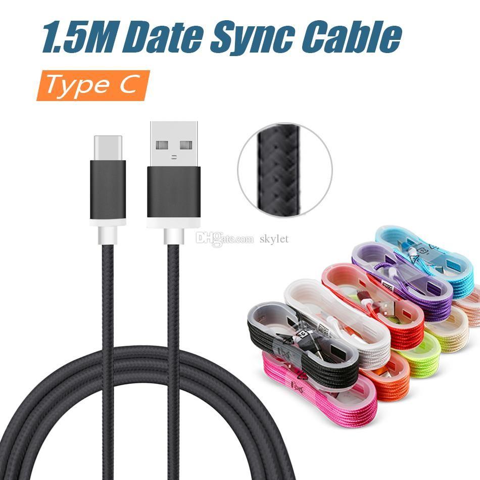 1.5M 유형 C USB 충전 코드 머리띠 USB C Mirco USB 케이블, 안드로이드 유니버설 핸드폰 용 금속 하우징 헤드 포함