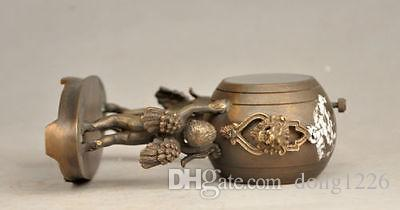 4.72 pollici / decorativa vecchia scultura in ottone può utilizzare orologio meccanico angelo bambino