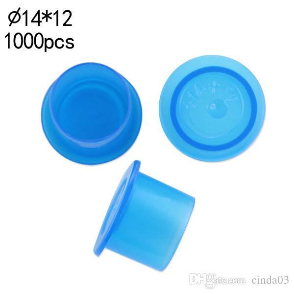 Оптово-(синий) 14 мм ТАТУИРОВКА ЧЕРНИЛА Чашечки 1000 шт. Пигментные принадлежности Пластиковые чернила для самостоятельной поставки Бесплатная доставка