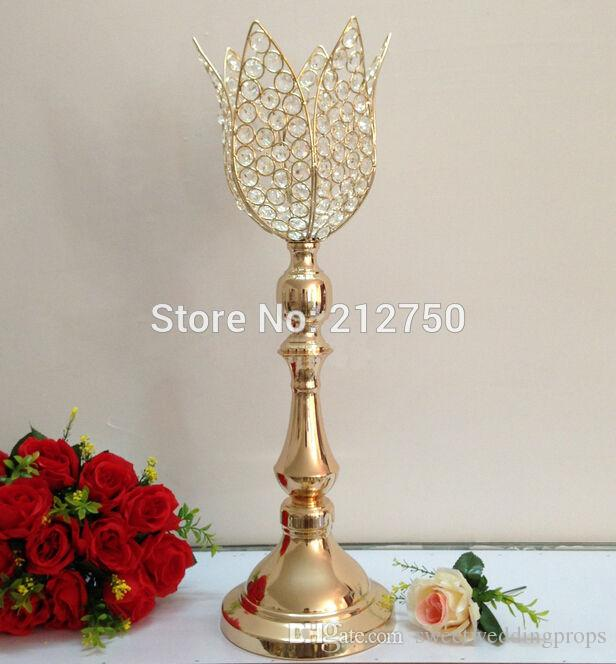 61cm 24inch Express free shipping gold wedding centerpieces christmas crystal lotus flower candle holders