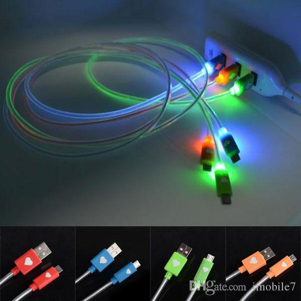 Câble de synchronisation des données de charge micro USB LED lumière visible pour Android Samsung Sony hTC