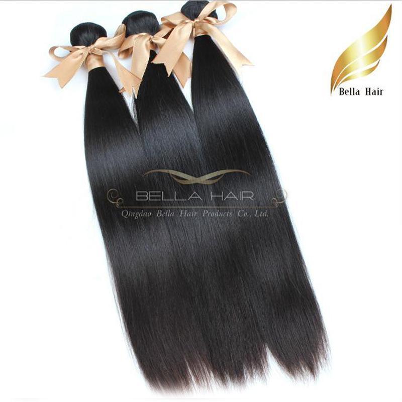 """Cheveux Extensions 8 """"-30"""" Bresilien Vierges Cheveux Tissage Podwójne Perruque Couleur Natuelle 3szt Soyeux Tersje Bellahair 9a DHL Shi"""