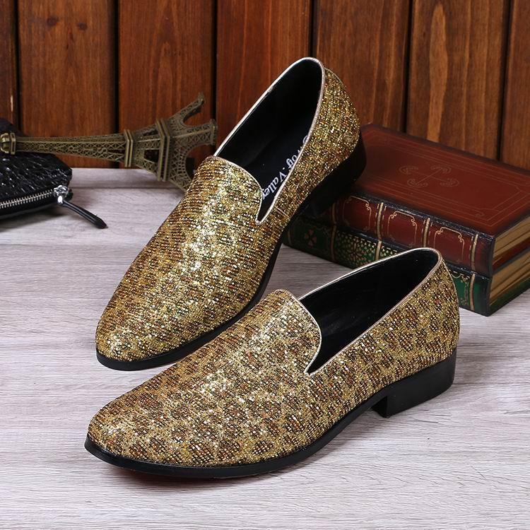 Lusso Uomo Oro Scarpe in pelle per il tempo libero Stilista Punta rotonda Modello leopardo Slip On Scarpe da barca Uomo Casual Foot Wear Glitter