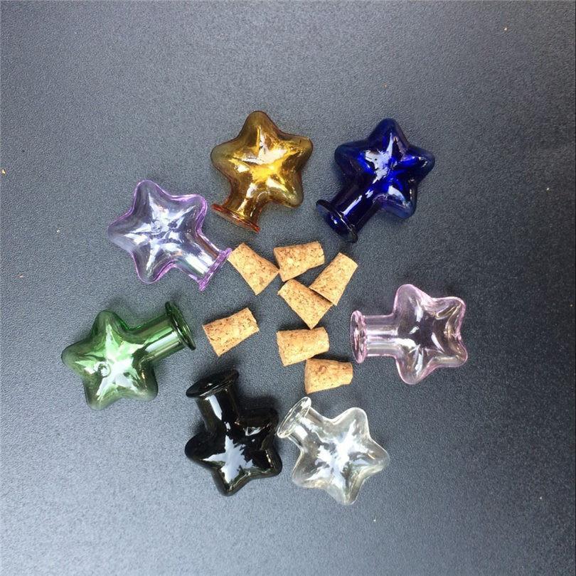 Mini Glass Bottles Star Jars With Cork Little Colors Art Bottles Handmade Gift Cute Bottles4