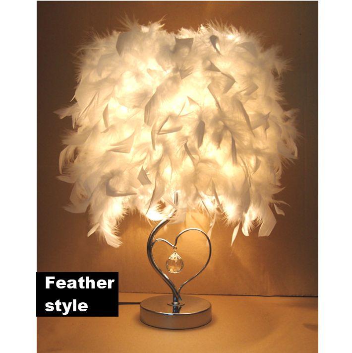 Lâmpadas de mesa de cabeceira Leitura sala de leitura sentado viva Coração clássico forma branca penas cristaldesk lâmpada luz