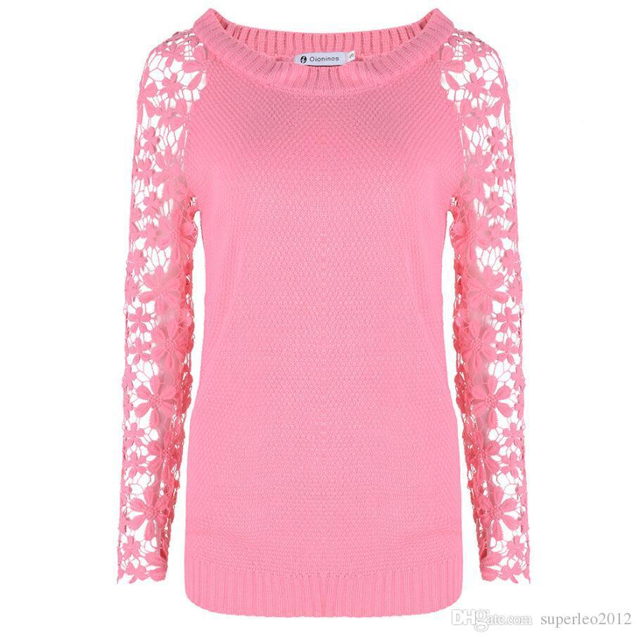 Koronka damska Knitwear Elegancki sweter sweter z długim rękawem O Neck Patchwork Knit Hollow Out Sweatshirt Casual Dzianiny Sweter Plus Rozmiary NS