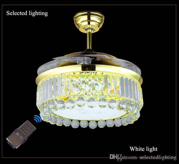 42 inch Ceiling Fans Lamp Modern Minimalist Decorative Crystal Chandelier Light Living Room Fans Lights Remote Control 110V 220V
