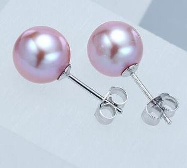 Charme paio 9- 10 millimetri del mare del sud rotondo lavanda perla orecchino in argento 925