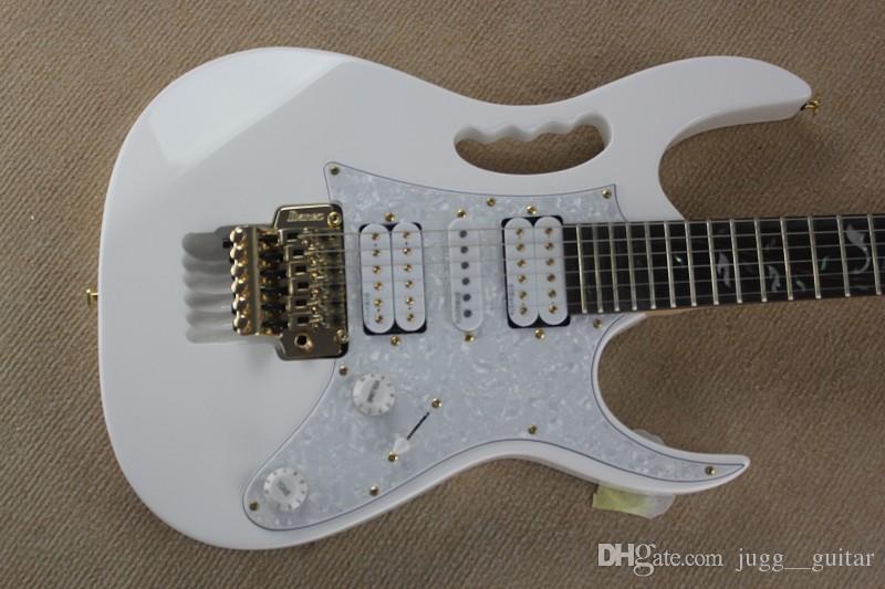Personalizado 24 Frets V WH Branco RARE Guitarra Elétrica Scalloped Fretboard Abalone Árvore De Linha Inlay Ouro Floyd Rose Tremolo Tailpiece