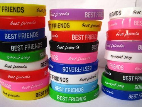 brand new 24 pieces Best Friends friendship silicone rubber kids bands wristbands bracelets wholesale lot