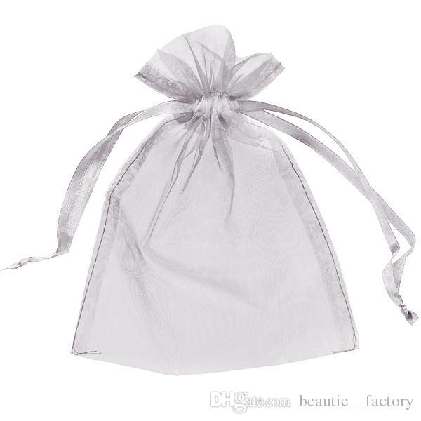 100pcs 5x7inch 실버 Organza 가방 선물 주머니 결혼식 호의 크리스마스 파티 포장 (13cm x 18cm) 멀티 색상 레드 핑크 아이보리 골드 블루 그린