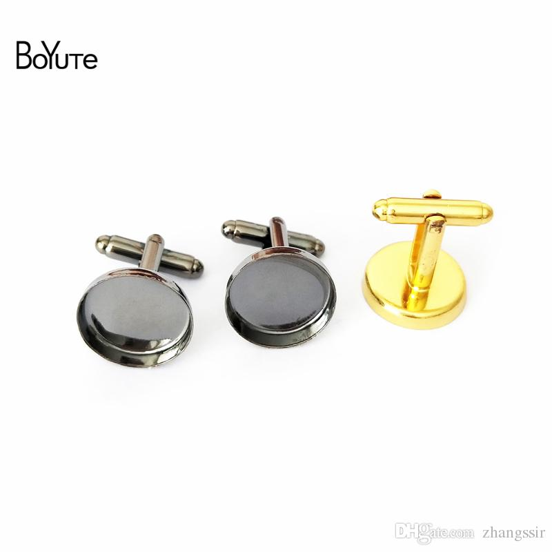 BoYuTe 20Pcs 7 Colors Cufflink Blanks Bezel Tray Round 16MM Cabochon Base Setting for Jewelry Making