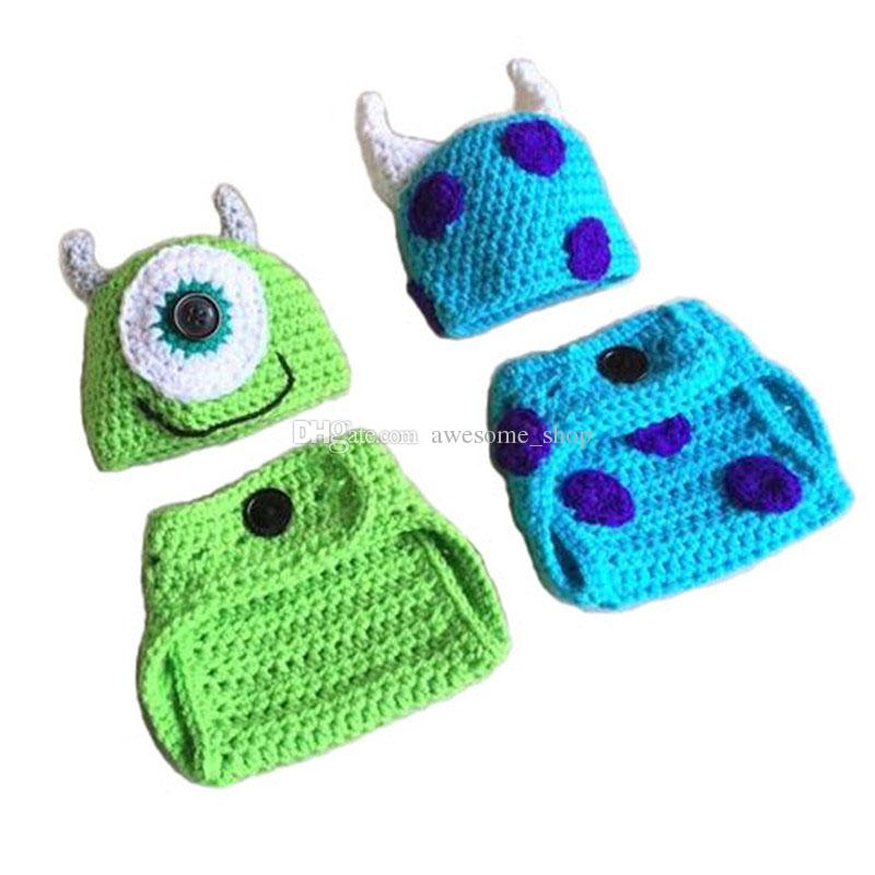 Mike and Sulley Monster Outfits,Handmade Knit Crochet Baby Boy Girl Twins Monster Hat Diaper Cover Set,Halloween Costume,Infant Photo Prop