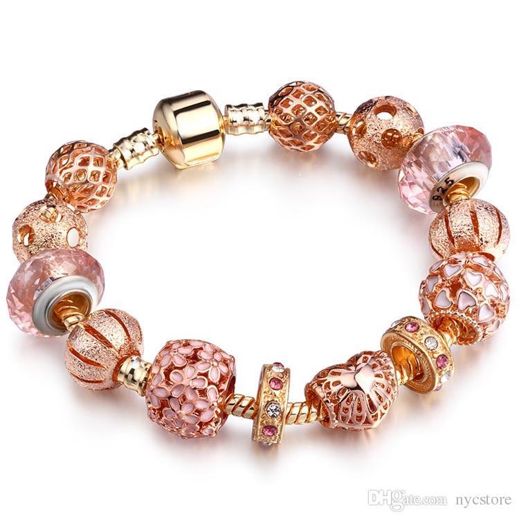 de haute qualité rose bracelets en or charmes bracelets européens bracelet cadeau pour les femmes diy copines amoureux