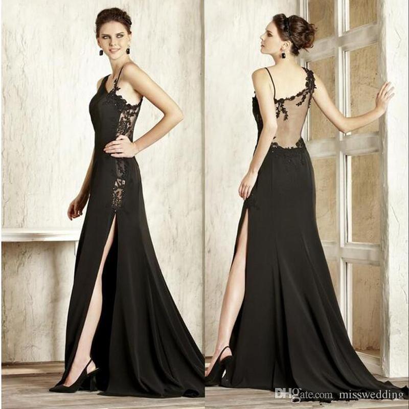 Gute Qualität Zwei Riemen Abendkleider Schwarz Appliques Elegantes Meerjungfrau-Kleid Transparent Zurück Gute Qualität Vestido De Noche
