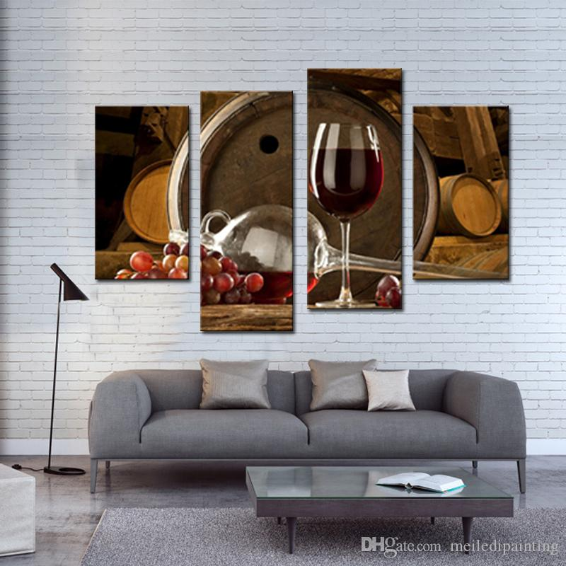 Amosi Art-4 Pieces Wine And Fruit With Glass And Barrel Wall Art Painting Print On Canvas the Picture For Home Decoration with Wooden Framed