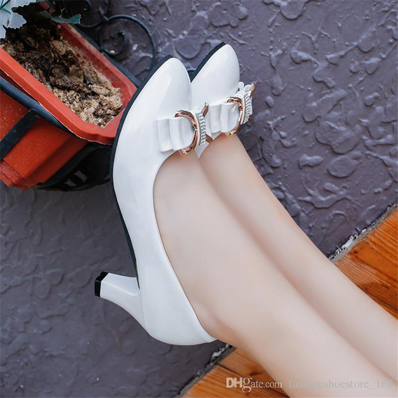 Woman high heel pumps office nude shoes 2017 Pointed Toe Patent Leather red white women wedding shoes bride 6CM heels