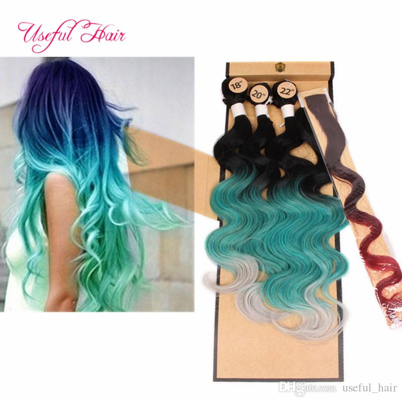 free shipping 4pcs/lot body wave hair weaves 220g synthetic braiding hair bundle with lace closure sew in hair extensions weaves closure