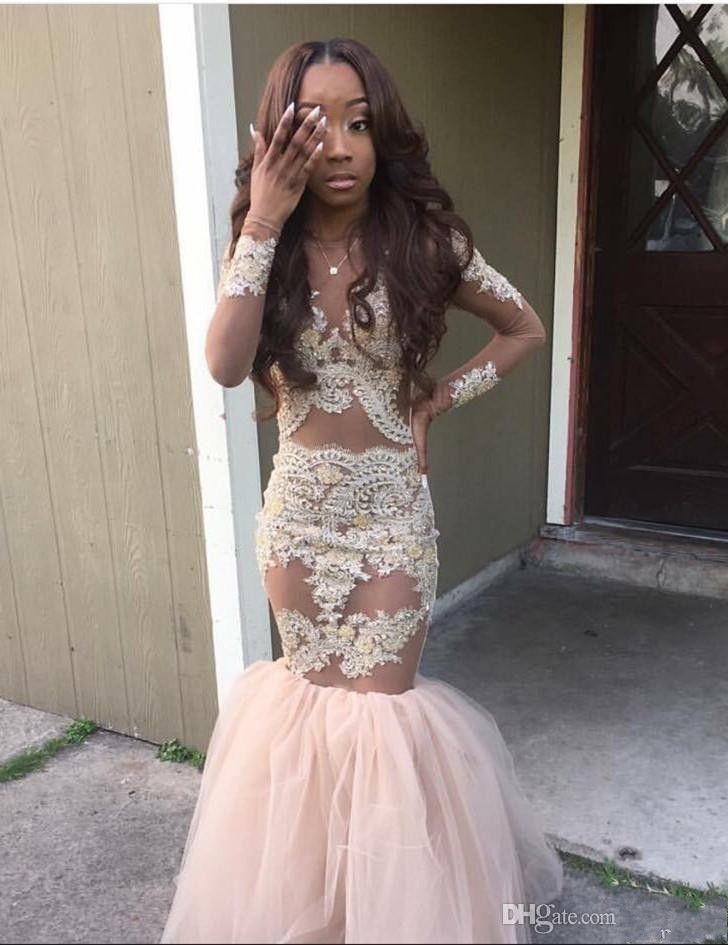2016 Czarny Dziewczyna Prom Dresses Mermaid Style Gold Aplikacje Długie Rękawy Suknia Saudyjska Arabia Tulle Sexy Girls Pagewant Sukienka