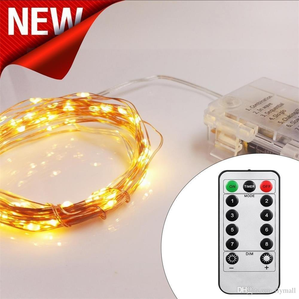 5M 50 LED 10M 100 LED 8 Modes String Light with 13 keys Remote Control Battery Operated Copper Wire LED String Wedding Christmas Party Light