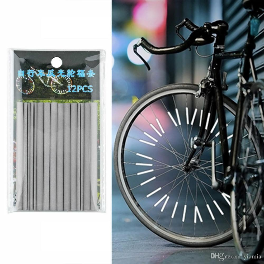 12pcs Cycling Wheel Spoke Reflector Bike Bicycle Reflective Mount Clip Tubes CY