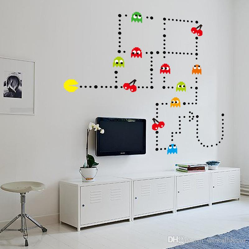 Pacman style wall stickers gaming kids
