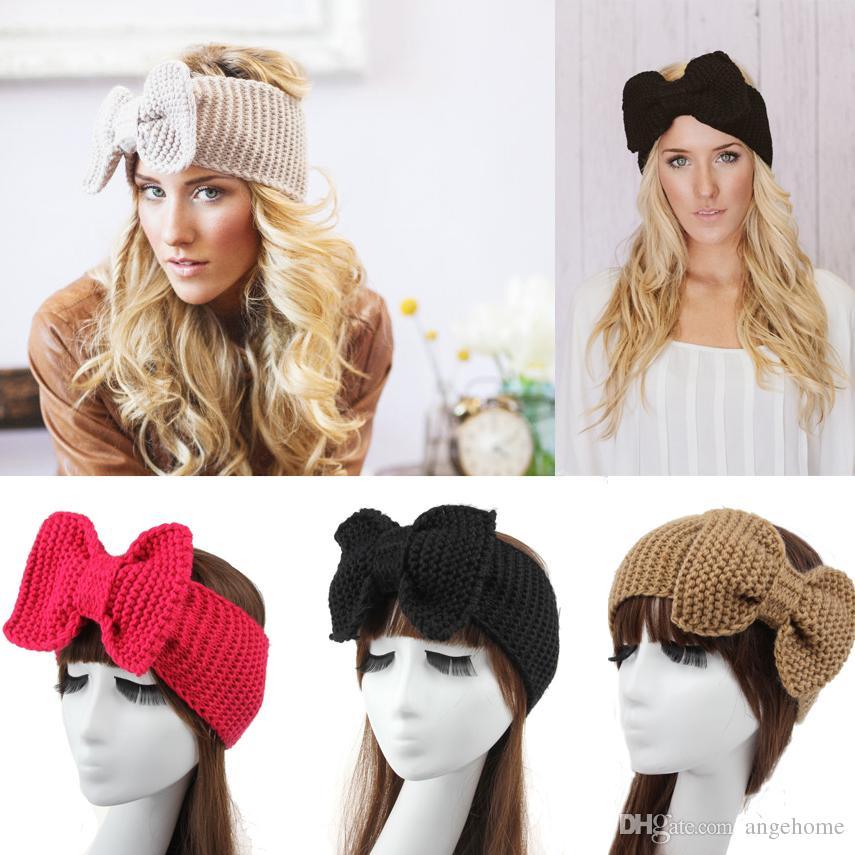 Womens Crochet Headbands Outono Inverno Malha Grande Borboleta Headbands Adulto Lady headwrap inverno cabelo Estiramento Faixas de Cabelo