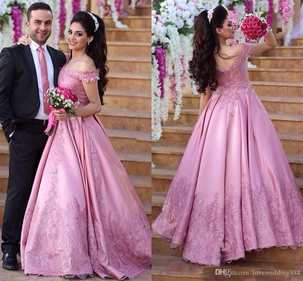2017 Blush Rose Robes De Bal Robe De Bal Sexy Off Épaule Applique Dentelle Formelle De Mariée Porter Robe De Maraige Longues Robes De Soirée