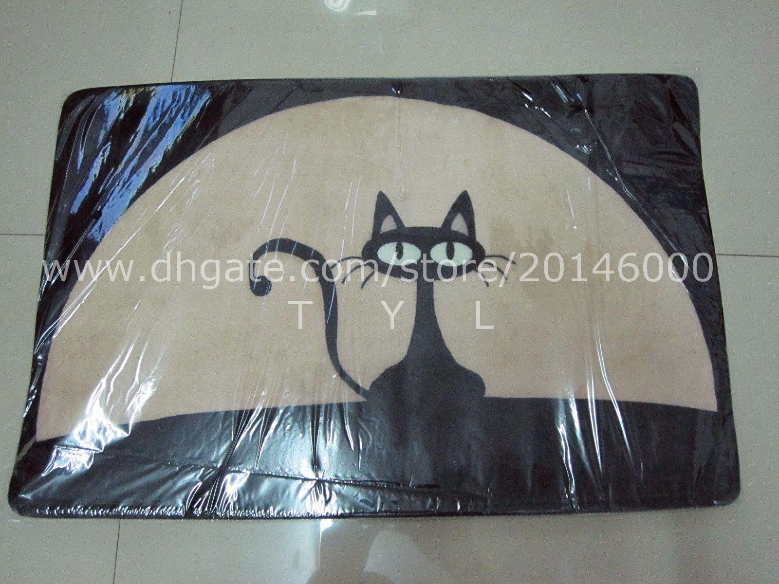 fabulous schwarze katze haustr matte cartoon wildleder gedruckt bereich teppich fr wohnzimmer kche teppiche antislip badematten fumatte with teppich in der - Ovaler Broteppich