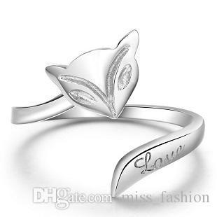 Frete grátis 925 jóias de prata esterlina simples 3D fox marca único anel aberto design novo