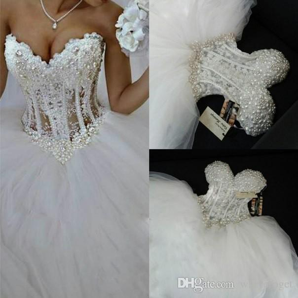 Luxe bling chérie robes de mariée Corset Bodice Sheer mariée boule de cristal Perles Perles strass mariage Tulle Robes de mariée Custo
