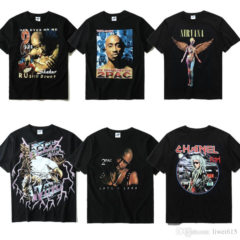 Keine Verkaufssteuer Online-Einzelhändler neueste Kollektion New 2PAC T Shirt Men Women High Quality Gangsta Rap Tupac Shirt Hip Hop  Gang Related Print Brand Clothing Tupac Kanye West Tee 2PAC T Shirt Fun Tee  ...