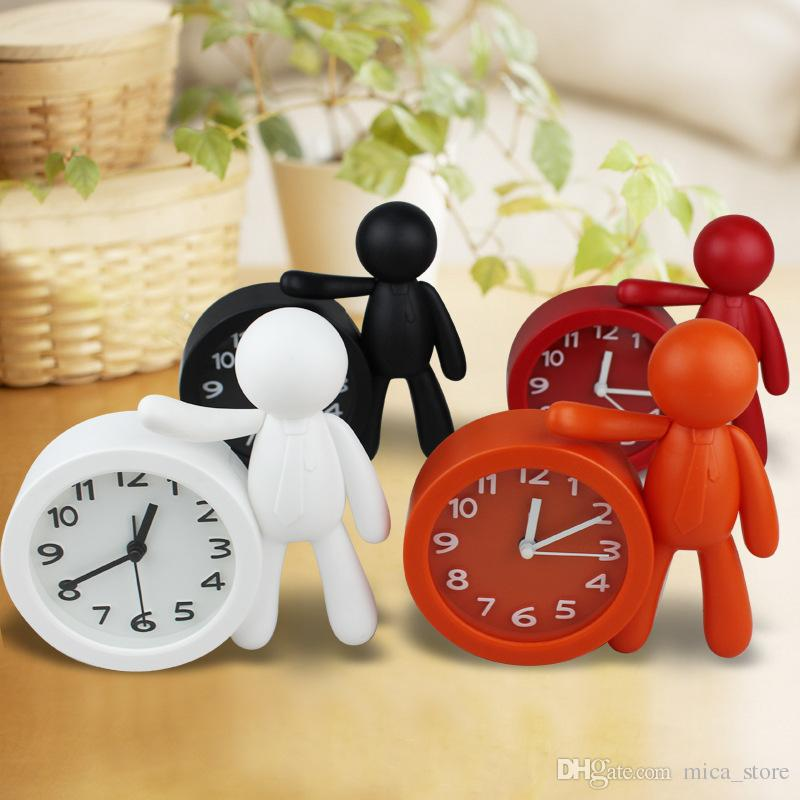 White Black Orange Red Buddy Desk Clock Removable Solid Color