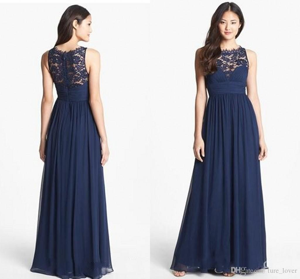 Marinho azul chiffon longo dama de honra vestidos laço 2015 chão comprimento empérico cintura jóia decote puro zíper back honor nupcial poeira vestidos de limpeza