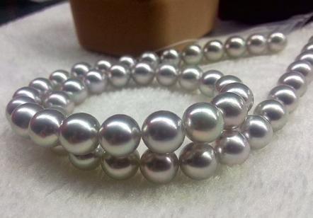 Natürliche 10-11mm Südseesilbergrau Perlenkette 18inch Gold 14k Schließe