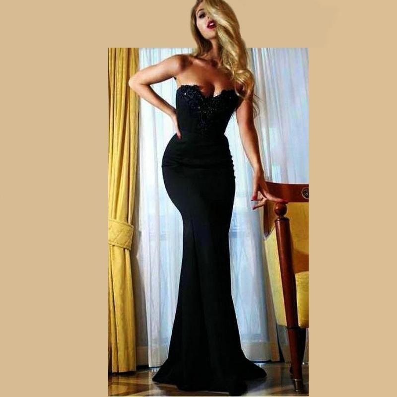 Sexy Black Mermaid Abendkleider Schatz Bodenlangen Kleider Abendgarderobe 2016 Nach Maß Vestido De Festa