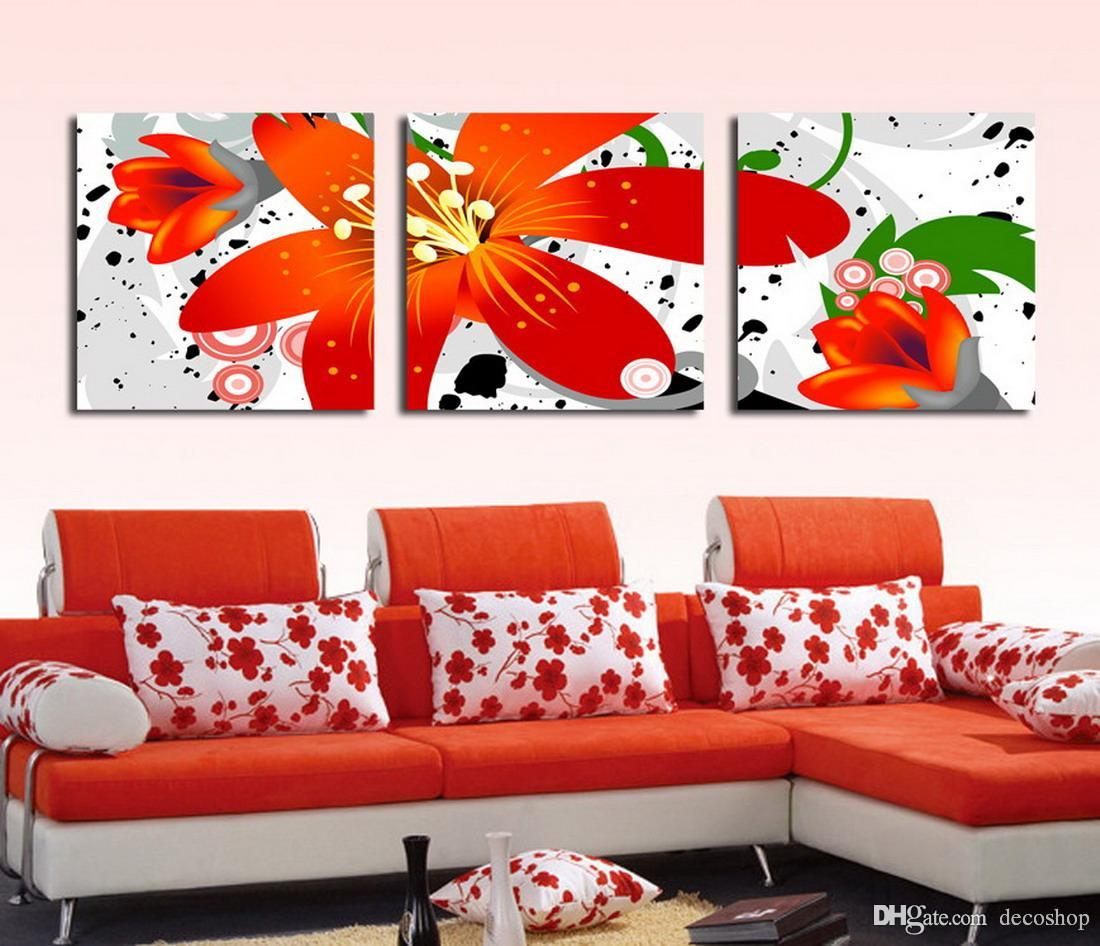 Beautiful Flowers Abstract Floral Painting Giclee Print On Canvas Home Decor Wall Art Set30130
