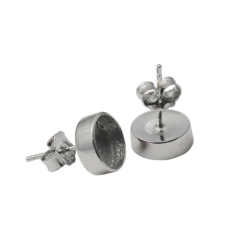 Beadsnice 925 sterling silver earring post ear stud with 8mm round cabochon setting DIY jewelry findings ID 34732