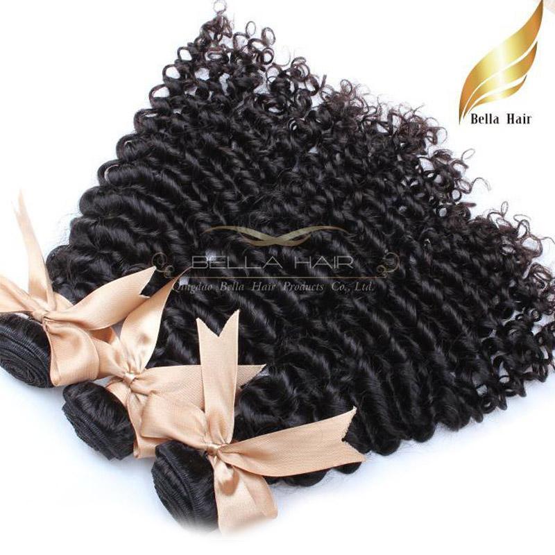 Curly Hair Extensions Brazylijski Ludzki HairSextensions Remy Humanhair Splot Wiązki Drop Shipping3PCS / Lot Bellahair