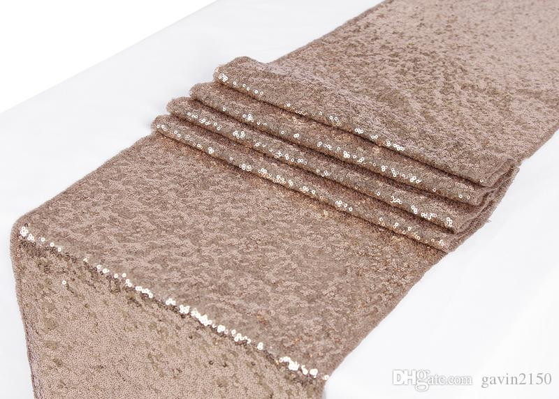 Free Shipping 1pcs 30*275CM Champagne Glitter Sequin Table Runner For Christmas Wedding Party Banquet Home Decoration