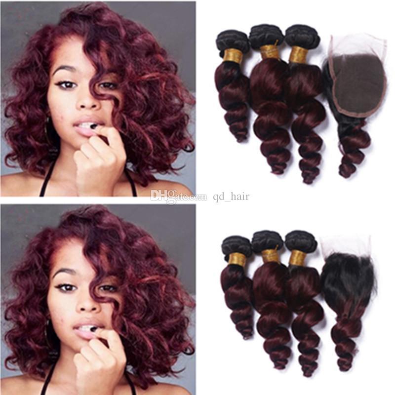 Горячие продажи темный корень ломбер пучки волос с шнурком закрытия человека бордовый 1b 99J свободные волны пучки волос с закрытием кружева 4x4