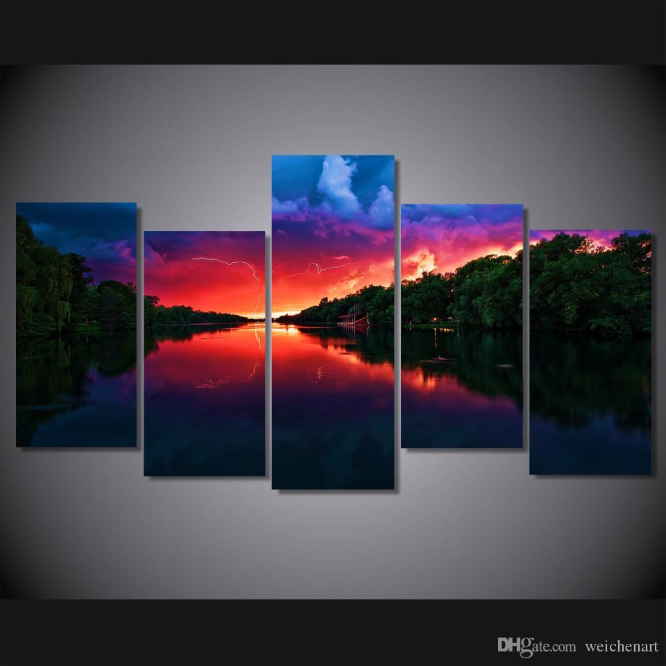 5 Pannello di stupefacente Red Sky Pittura su tela di canapa della decorazione della stanza della stampa pittura poster Immagine Canvas Wall Art