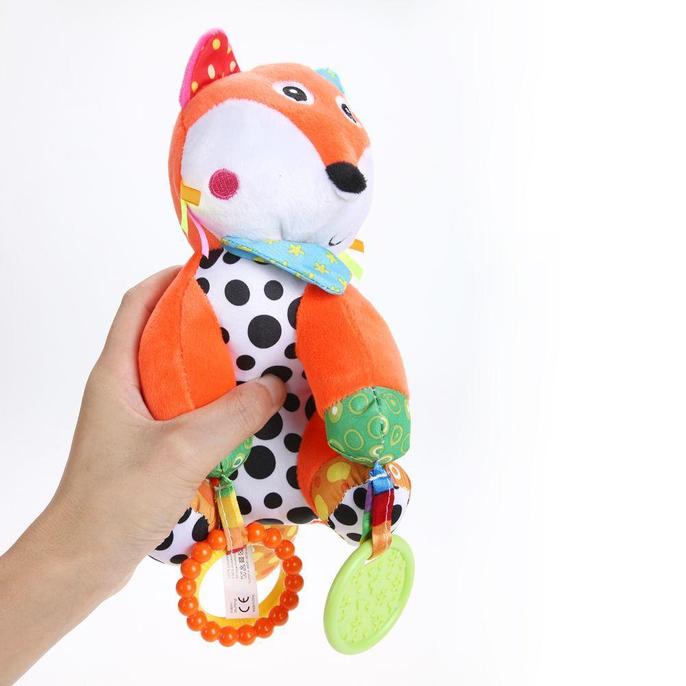 Brinquedos de Pelúcia do bebê Dos Miúdos Dos Desenhos Animados de Pelúcia Brinquedos Teether Teether Educacional Pendurado Carrinho De Bebê Cama Brinquedos Musicais (Fox) PNLO