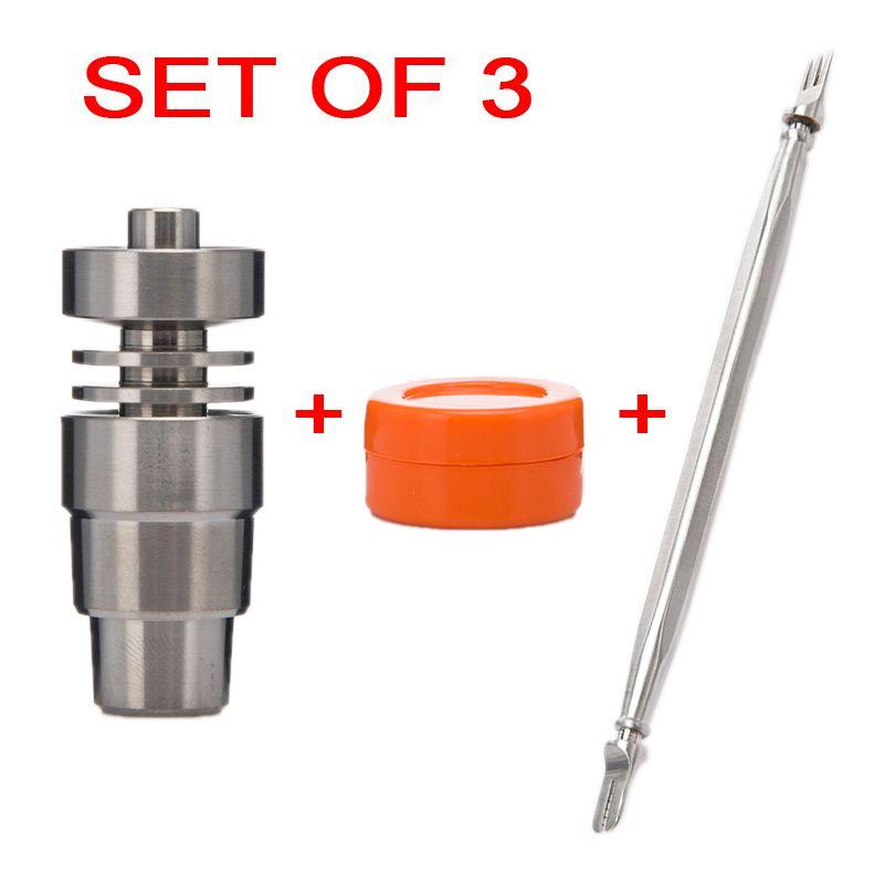 Бонг набор инструментов 14 мм 18 мм 4 в 1 Набор без купола Титана ногтей из 3 нержавеющей стали Dabber цвет силиконовые банку Dab буровых установок контейнера
