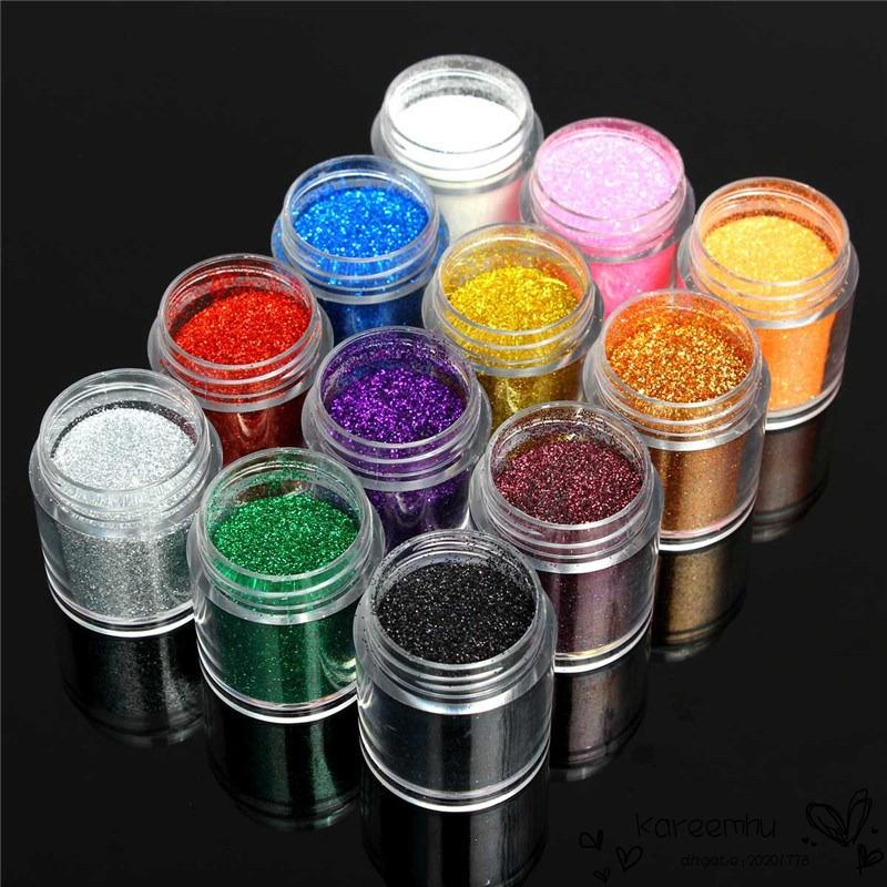 Nail Art Powder Glitter Dust Powder Shiny For Uv Gel Acrylic Powder ...